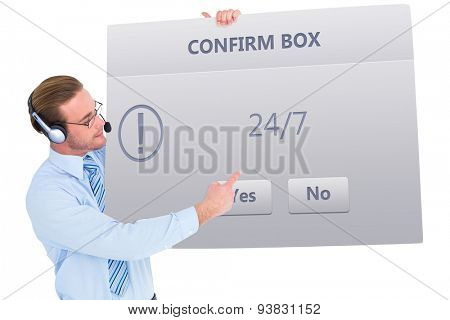 Businessman presenting card wearing headset against confirm box