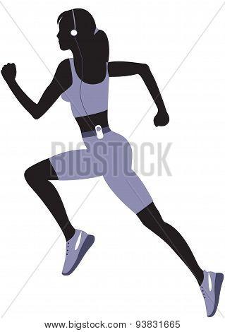 Running  Woman Silhouette.