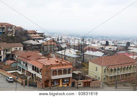 Telavi,GE-Feb,2015:Top view of the residential area of Telavi and Alazani Valley. Kakheti, Georgia