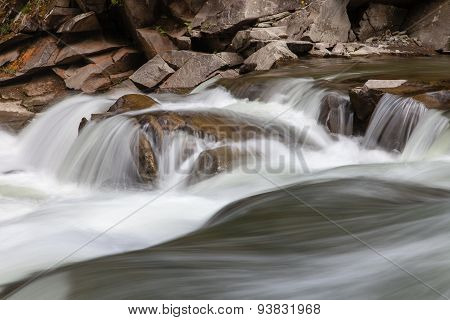 Peaceful Flowing Stream In Mountains