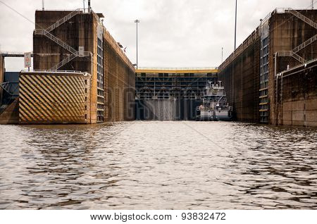 Tugboat In Open Lock