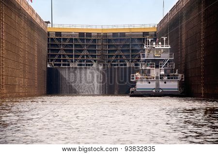 Tugboat In A Lock