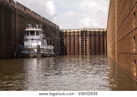 Tugboat In Closed Lock