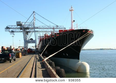 Container Cranes And Ship