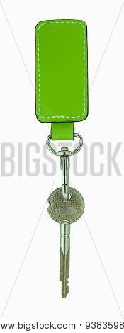 Green Leather Tag And A Keychain