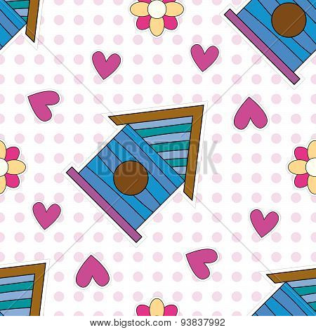 Seamless tiling texture with birdhouse, hearts and flowers