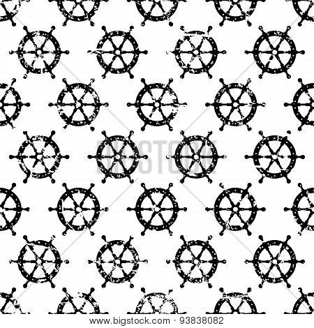 Hand Drawn Vector Seamless Pattern With Black Steering Wheel Isolated On White Background. Abstract