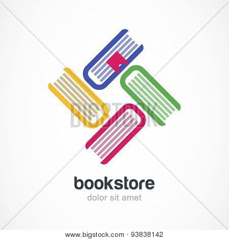 Vector Logo Design Template. Multicolor Books Flat Icon.