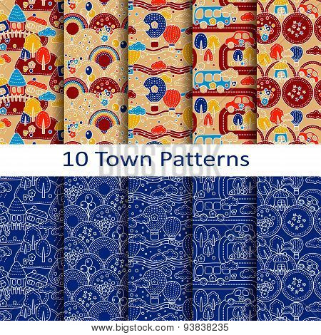 set of ten town patterns