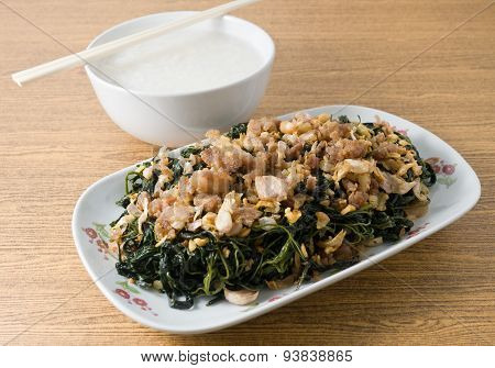Stir Fried Jute Leaves With Soft Boiled Rice
