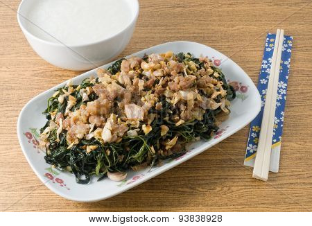 Stir Fried Jute Leaves With Boiled Rice