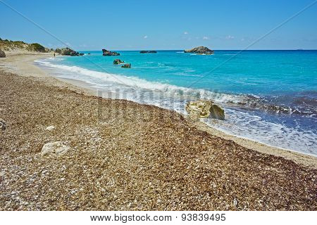Panoramic view of Megali Petra Beach, Lefkada