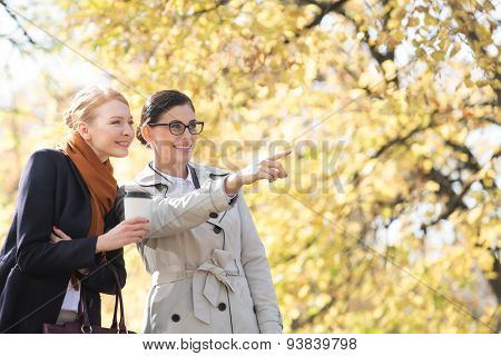 Happy businesswoman showing something to colleague at park