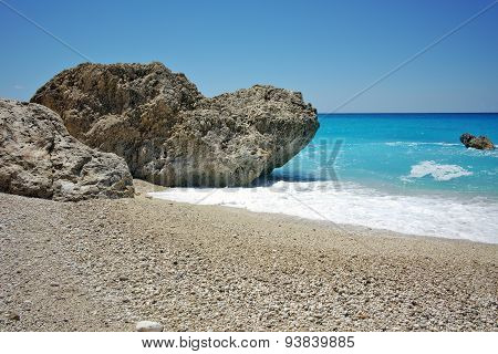 Panoramic view of Megali Petra Beach, Lefkada, Ionian Islands