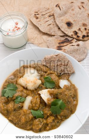 Fish Curry Meal With Chapati Flatbread