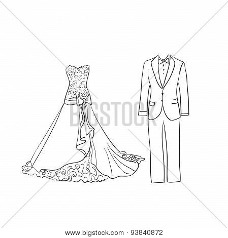 doodle wedding dress and suit