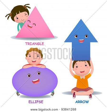 Cute Little Cartoon Kids With Basic Shapes (ellipse, Arrow, Triangle)