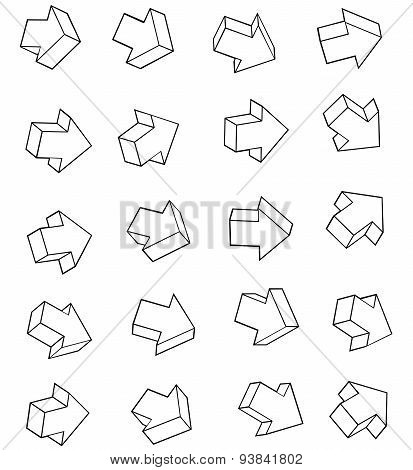 Arrow Outline Icon Collection Over White Background