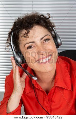 Female Customer Service Operator, Helpdesk Support, Red Shirt.