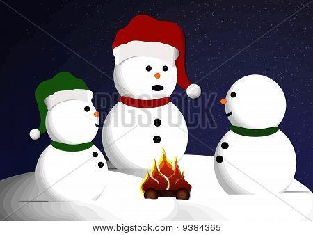 Snowman Campfire