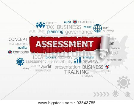 Assessment Word Cloud. Design Illustration Concepts For Business