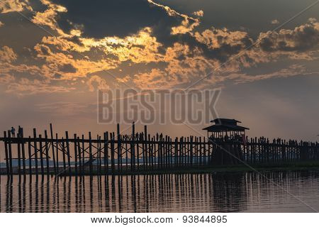 U bein wooden teck bridge at dusk in Amarapura Myanmar (Burma)