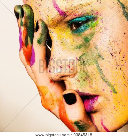 Model With Creative Makeup