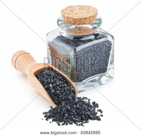 Hawaiian black volcanic salt in a glass bottle