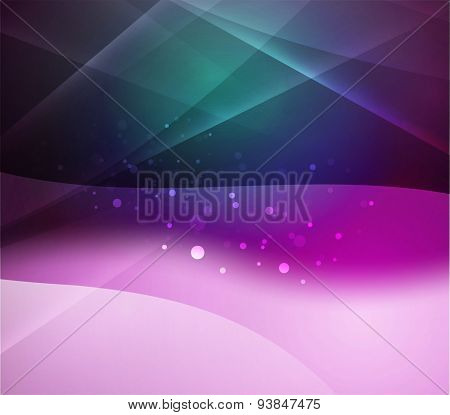 Dark purple and blue shining, waves and lines. Abstract background
