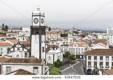 Top view of center Ponta Delgada (San Miguel Island) Azores, Portugal.
