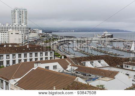 Top view of the Marina of Ponta Delgada (San Miguel Island) Azores, Atlantic Ocean, Portugal.