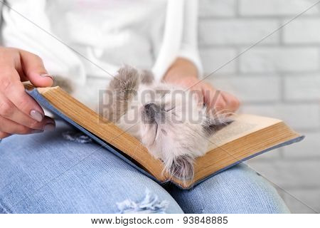 Young woman holding cat and old book, close-up