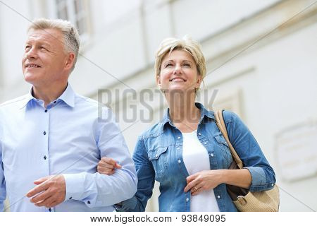 Smiling middle-aged couple standing with arm in arm outdoors