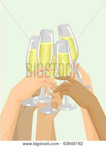 Cropped Illustration of Hands Clinking Their Glasses Together