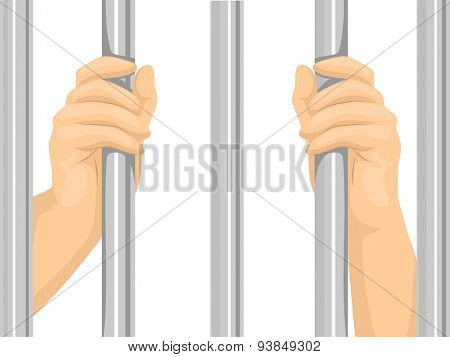 Cropped Illustration of a Person Locked Behind Bars