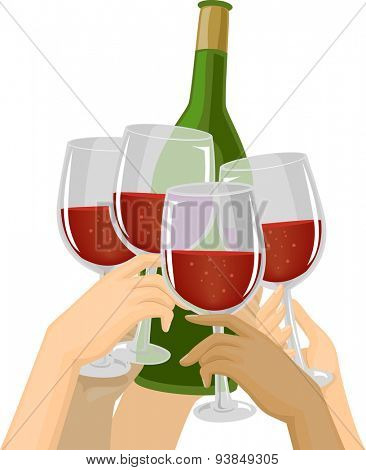 Cropped Illustration of Hands Clinking Their Glasses Against a Bottle of Wine