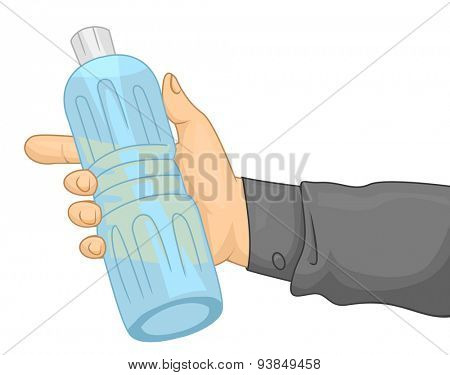 Cropped Illustration of a Person Holding Bottled Water