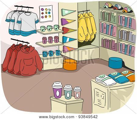Illustration of a University Store Filled with Sports Related Merchandise