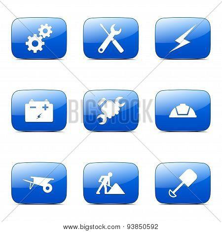 Construction Tools Square Vector Blue Icon Design Set