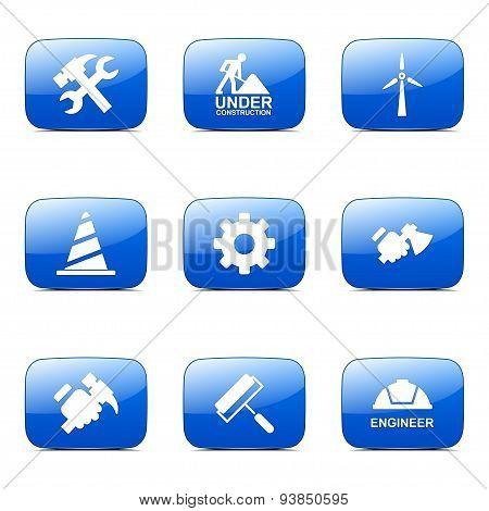 Construction Tools Square Vector Blue Icon Design Set 2
