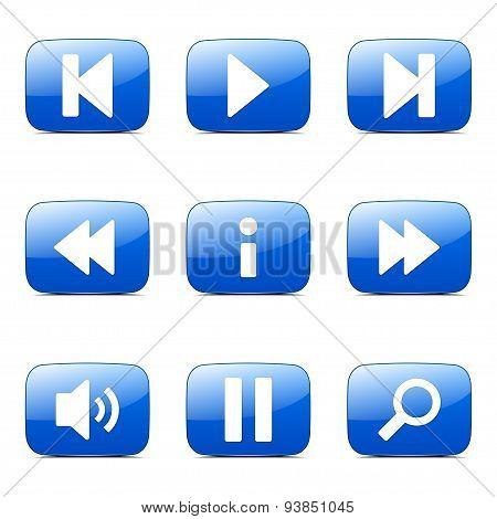 Multimedia Controller Square Vector Blue Icon Design Set