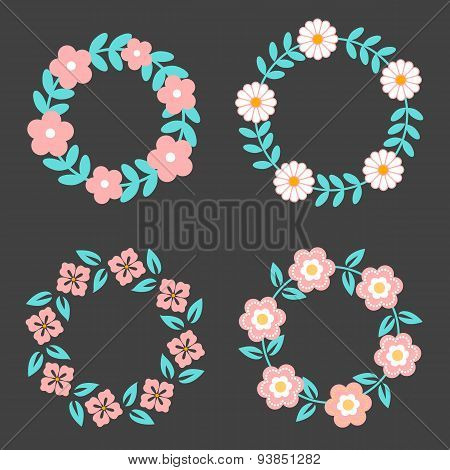Floral Frame Collection. Cute retro flowers arranged un a shape of the wreath perfect for wedding in