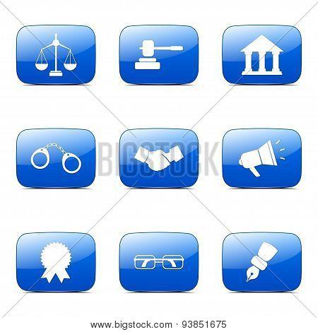 Law Sign Square Vector Blue Icon Design Set