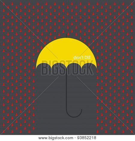 Vector modern umbrella with drops