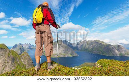 hike in Norway mountains, Lofoten island