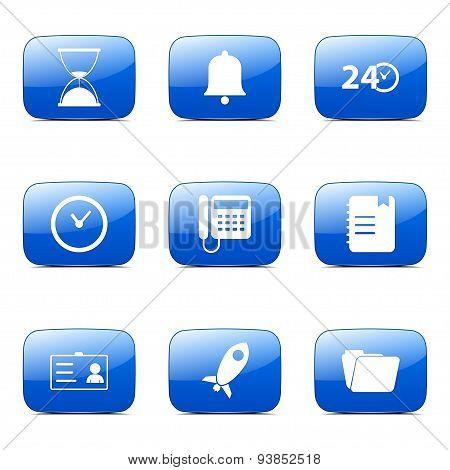 Time Duration Square Vector Blue Icon Design Set