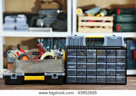 Set of tools in workshop