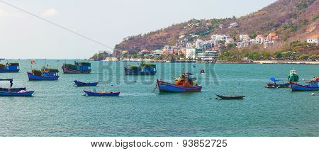 City quay with different fishing boats. Vung Tau province