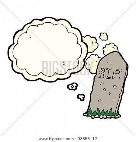 cartoon spooky grave with thought bubble