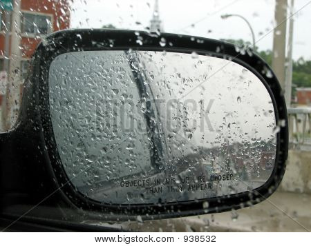 Car Rear Mirror With Raindrops